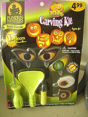 15 PIECE Halloween KIDS CARVING KIT Ages 6+ Pumpkin Masters CARVE Spooky EYES