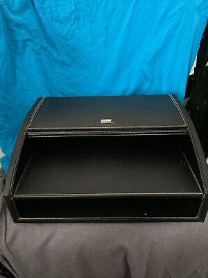 Leather Look Desk Organizer 2 Tier File Tray W Drawer For Home Office Supplies