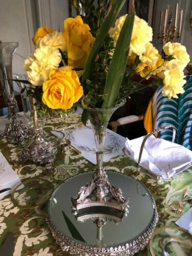 Antique English Silver Plate Epergne with Single Cut-glass Vase 3-Winged Pegasus