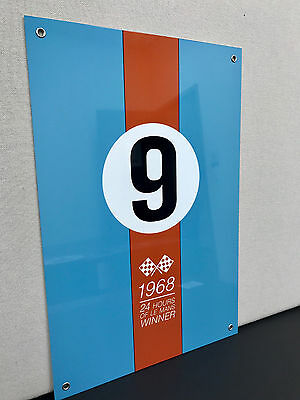 Gulf Racing Advertising Sign Oil Gas Le Mans 1968 Ford Gt40