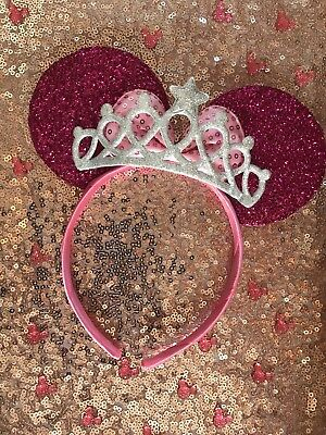 Disney Theme Minnie Mouse Ears Hen Pink Headband Silver Tiara Fits Kids & Adults