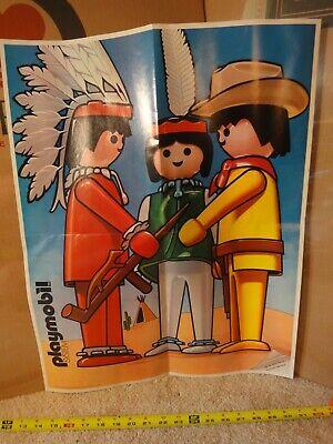Rare! Vintage Playmobil advertising Cowboys & Indians toy poster, circa 1979.