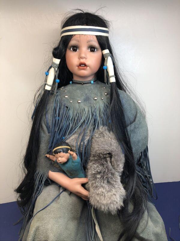 "23"" Sitting Artist Made Porcelain & Cloth Beautiful Native American Girl Doll #L"