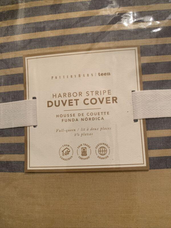 Pottery Barn Teen Harbor Stripe Duvet Full/Queen Navy&Yellow NWT
