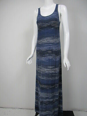 VINCE Slate Blue Black White Cotton Knit Scoop Neck Maxi Dress sz S NWT - Knit Black Slate