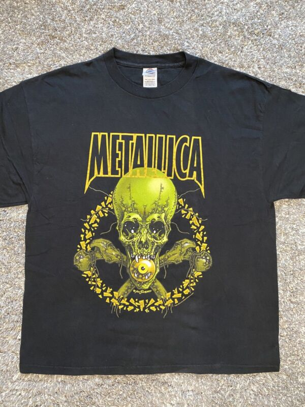 Metallica No Leaf Clover Tour T-Shirt 2001 Pushead Skull Graphic Tee Size XL