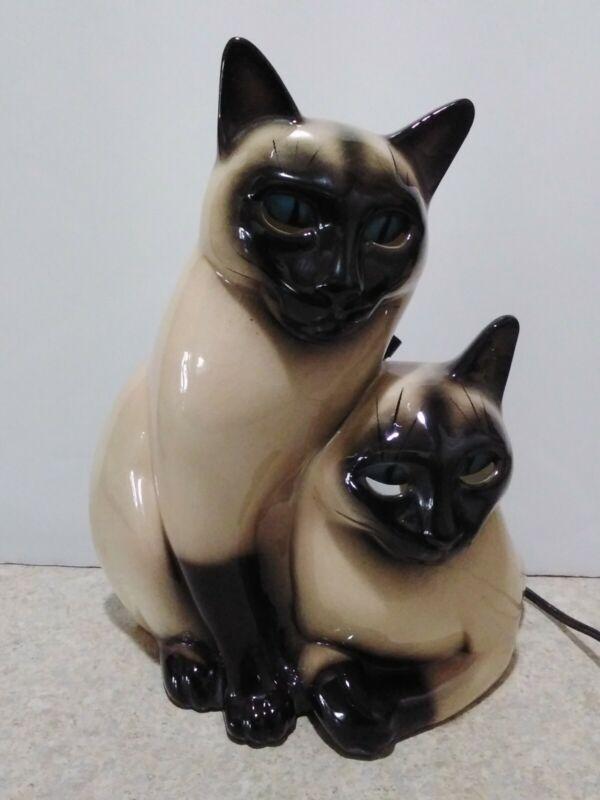 Claes TV Lamp Siamese Cats Ceramic vtg 1950