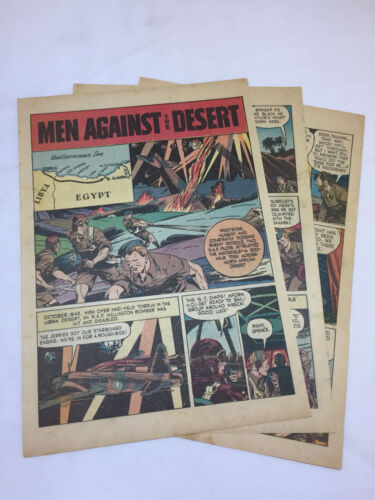 1944 five page cartoon story ~ BOB SPENCE+JOHN WOOD ~ RAF Men Against The Desert