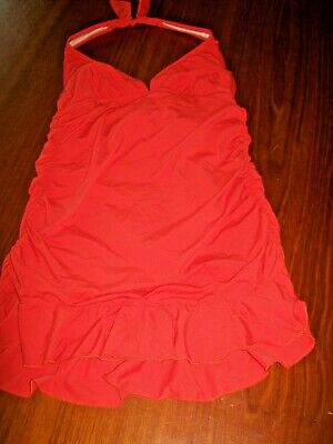 Kenneth Cole Reaction One Piece Swimsuit Sz L Orange Halter Ruffle Skirted