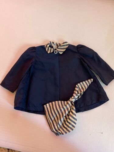 Terri Lee Navy Satin Coat With Scarf Hat Tagged 1950 - $19.50
