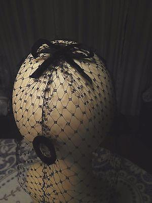 Vintage Ladies Black NET VEIL HAT With Bow, Dots & Circle Embellishments