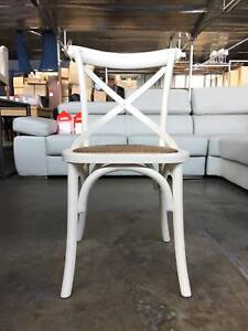 NEW DINING CHAIR COTTAGE GLOSS WHITE CROSSED-BACK CHAIR CHIC FEEL Leumeah Campbelltown Area Preview