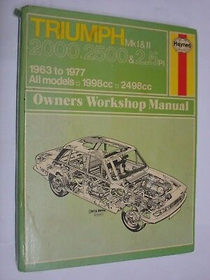 Triumph 2000 2000 & 2.5 MK 1 & MK 2 HAYNES MANUAL No. 336. used job lot HARDBACK