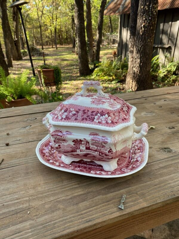 Spode Pink Tower Soup Tureen And Under Tray