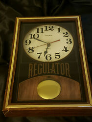 Vintage Verichron Quartz Regulator Wall Clock Wood Hanging
