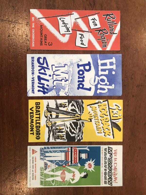 Vintage 1950's And 1960's Travel Ski Brochures