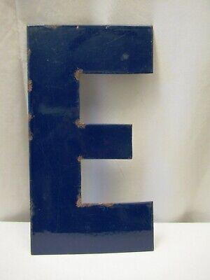 """Vintage Metal Enamel Letter E Advertising Sign Porcelain Petrol Pump Gasoline """"7"""