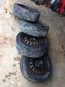 """16"""" 5x100 steelies with continental winter tires  St. John's Newfoundland image 1"""