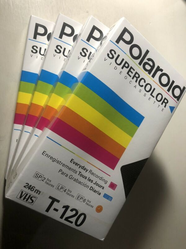 4 Polaroid Supercolor Video Cassette VHS Tapes T-120 2/4/6 Hour NEW  Sealed