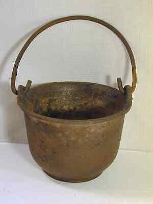 Farm Old Cast Iron Cauldron Pot Erie PA Smoke Ring Bail Handle Smudge Smelting
