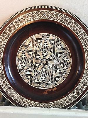 Vintage Wooden Inland Mother Of Pearl Wall hanging Plate with a Small Laker Box for sale  Shipping to South Africa