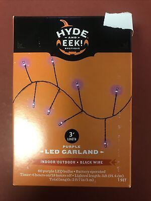 Hyde & Eek 3 Feet Purple Garland Indoor Outdoor Black Wire 60 Purple Led Bulbs