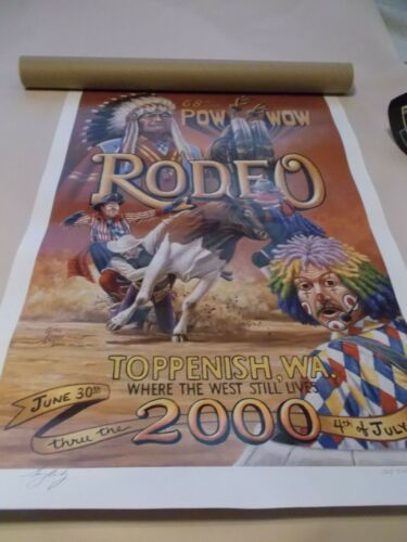 TOPPENISH JULY 4 POW WOW RODEO , SIGNED NUMBERED ART POSTER PRINT, YEAR 2000