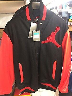Jordan nike varsity Jacket XL Black Red Bred Leather Wool Custom Chenille