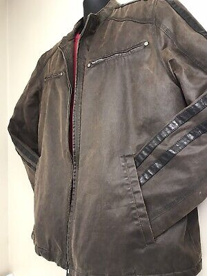 Guess Men's Gray Leather Jacket Size XL