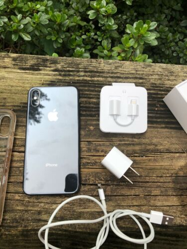 iPhone X 10 Gray 64 gig with Otterbox cover, orig box and accessories - ATT