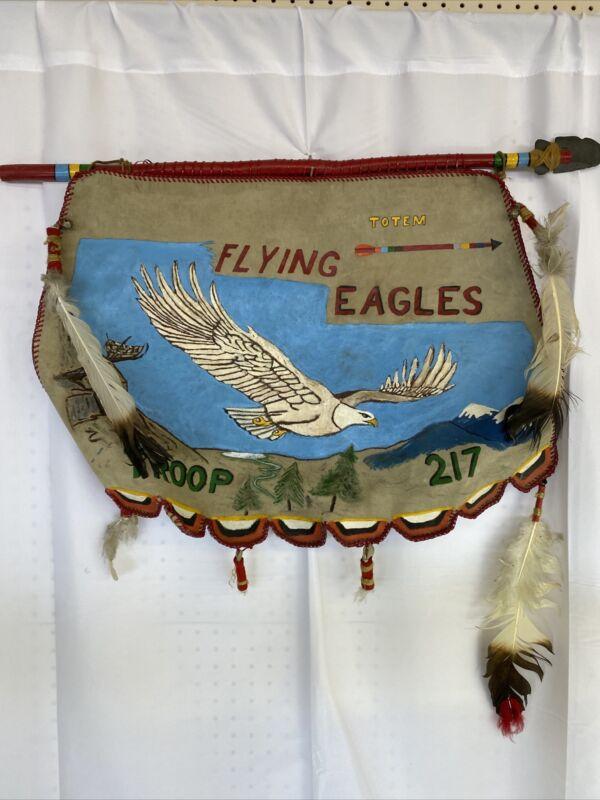 Vintage Boy Scouts BSA Troop 217 Flying Eagles Leather Banner Spear Totem