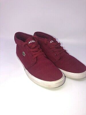 Lacoste Men Boys Shoe Size 6 Ampthill Maroon/Green/White Red Alligator