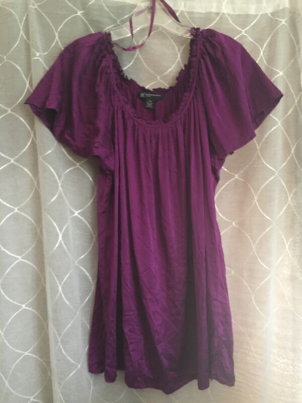 Plum Purple Silk Blouse-INC Woman 14W-Long-Pretty Cap Sleeves Solid-Women's Top