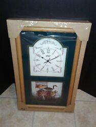 Quartz Rectangular 23.5×13.75 Glass/Wood Frame Wall Hanging Cabin Clock NEW