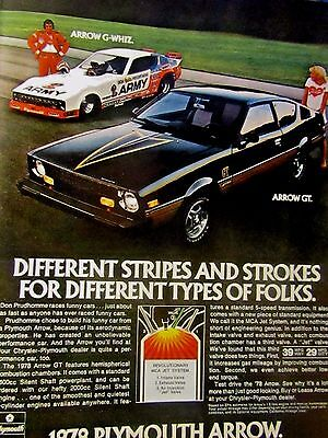 1978 Don Prudhomme Plymouth Arrow Original Print Ad-8.5 x 10.5
