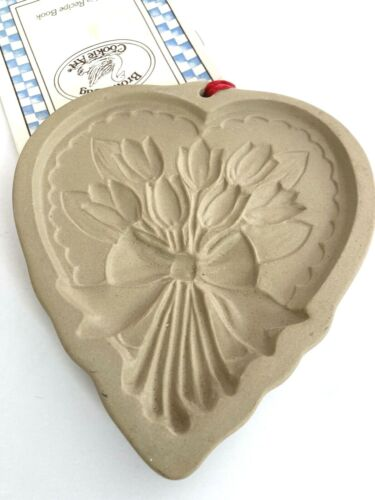 Vintage 1989 Brown Bag Cookie Art Mold Tulips Hearts Flowers Stoneware