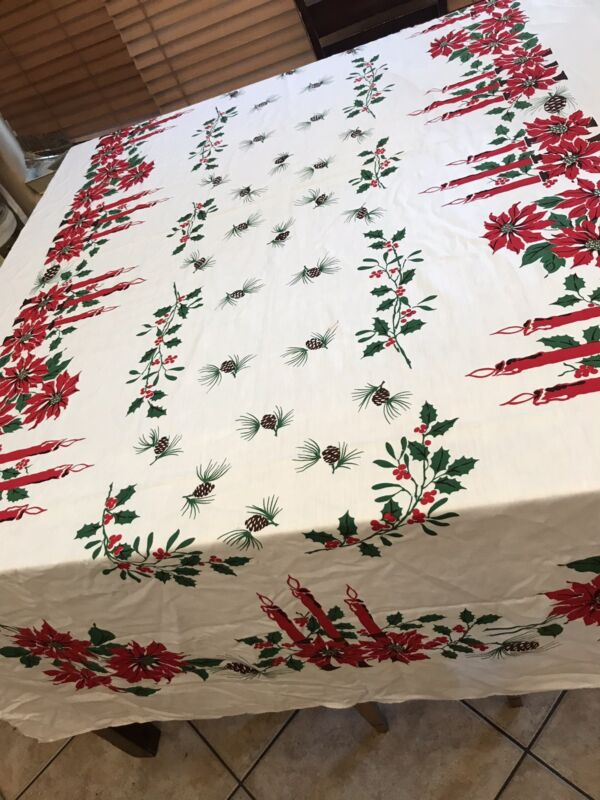 Vintage Christmas Poinsettia Candles Holly Pinecones Rectangle Tablecloth Long