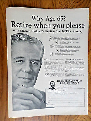 1956 Lincoln National Life Insurance Ad Why Age 65  Retire When You Please