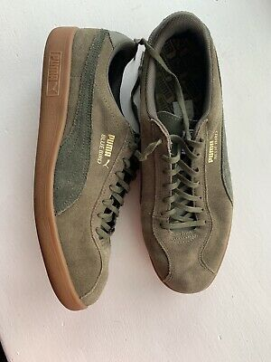 Puma Bluebird Trainers Size UK 10 Khaki Green Gum Sole Barely Worn