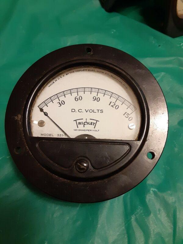 Vintage Simpson Electric Panel Meter Gauge Triplett 0-150 Volts Stock #C171