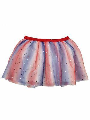 Red White Blue Tutu (Girls Red White Blue Patriotic Foil Star Silver Stars Tulle Tutu Skirt)