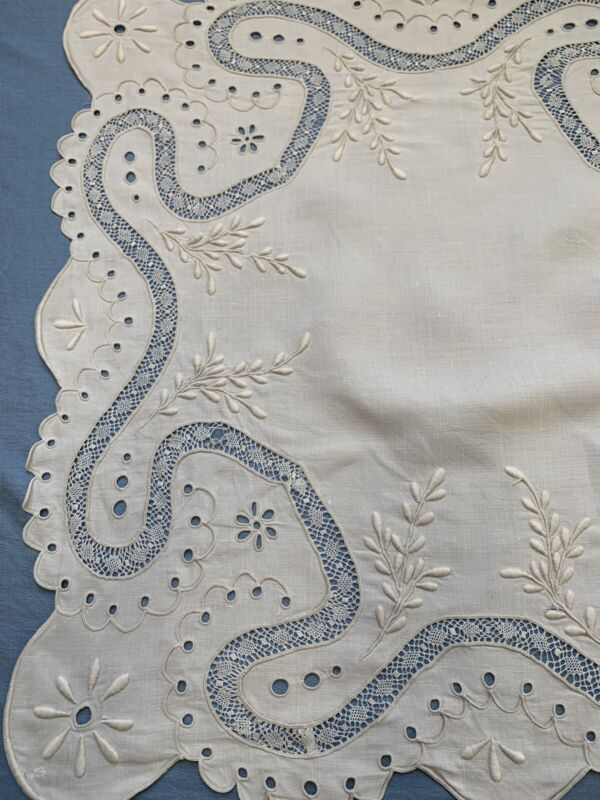 Embroidered Bobbin Lace Cutwork Eyelet Runner Square- Antique