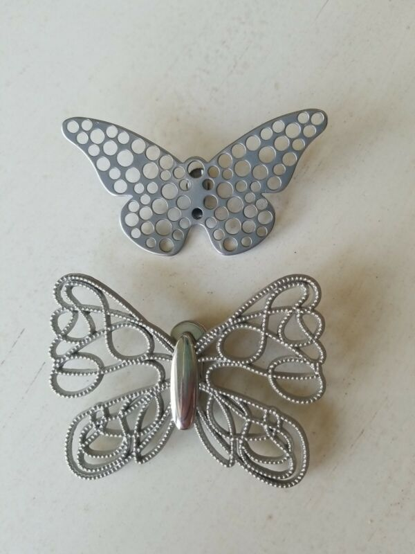Vintage Neiman Marcus Silver Tone Butterfly Clip Brooch Scarf Paper Collar Hair