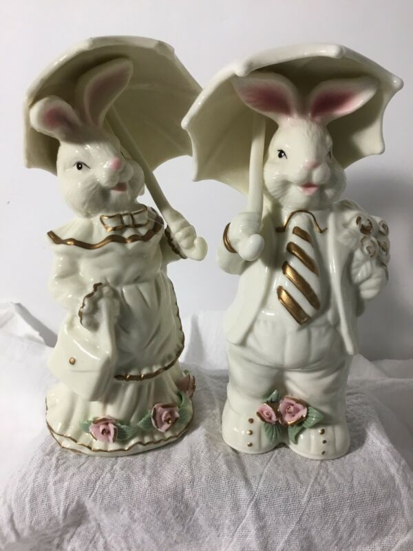 Mr & Mrs Easter Bunny Rabbit Parasol Umbrella K's Collection Boy Girl Figurines