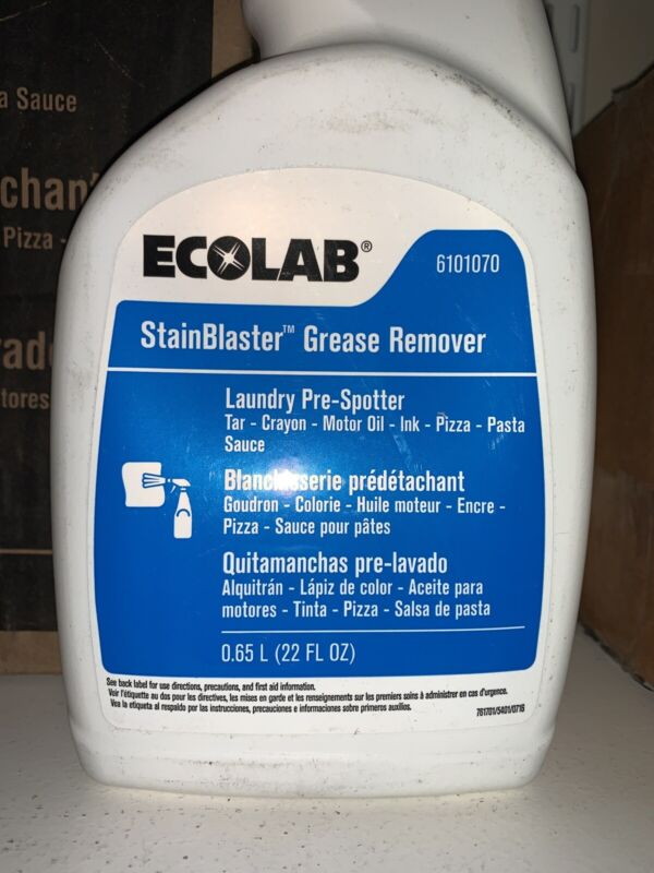 1 BOTTLE ECOLAB 6101070 Stainblaster Grease Remover Laundry Pre-Spotter 22 FL OZ