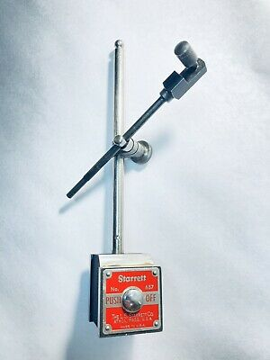 Starrett No. 657 Machinist Magnetic Base With 7 Post 14 Dial Indicator Rod