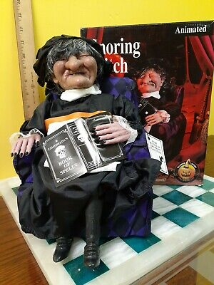 Gemmy Snoring Witch in Chair Vintage 1995 Halloween Factory Animated Decoration