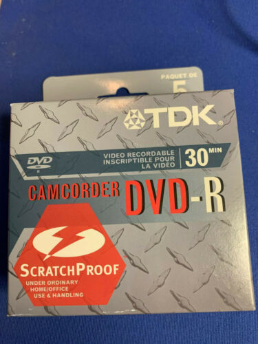 TDK CAMCORDER MINI-DVD-R 30M 2X 1.4GB NEW BOX OF 5 FACTORY SEALED