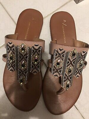 Anthropologie Crystal and Beaded Embellished Thong Sandals Size 38 US 7.5