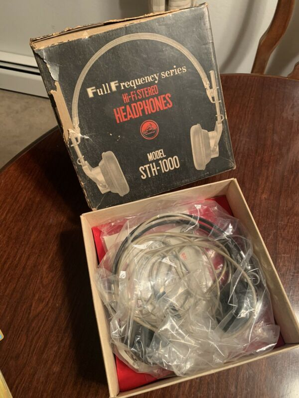 Victor STH-1000 Full Frequency Hi-fi Stereo Headphones Vintage Antique NOS Box